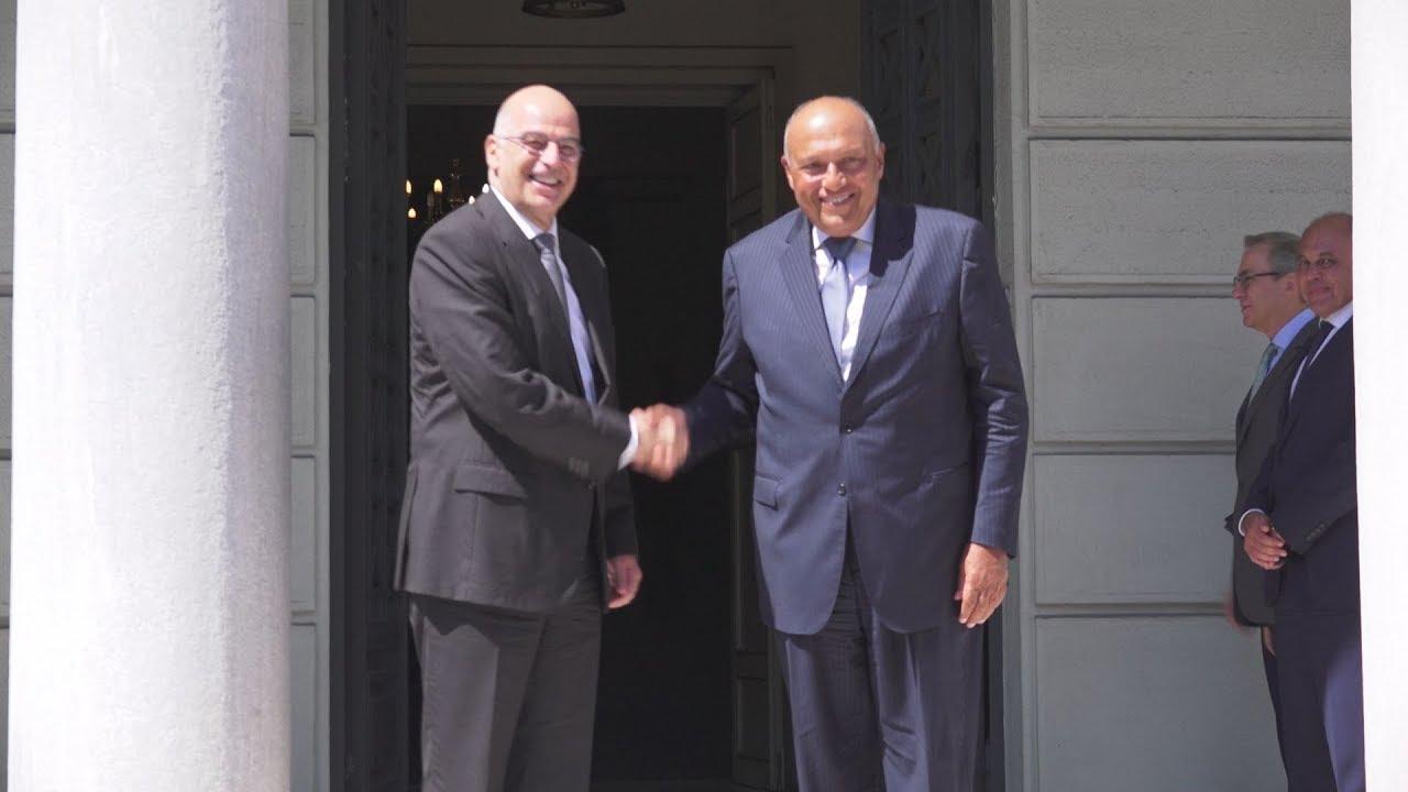 Συνάντηση του ΥΠΕΞ  Νίκου Δένδια, με τον Υπουργό Εξωτερικών της Αιγύπτου