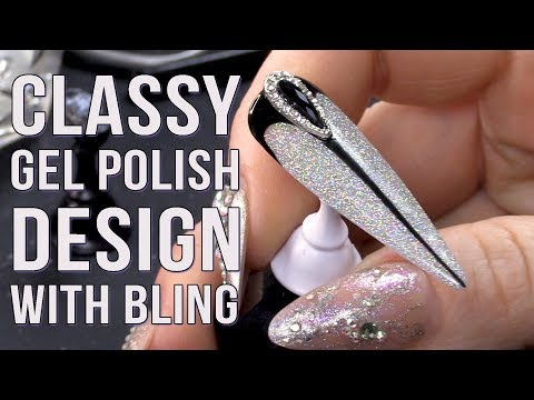 Gel nails - HOLOGRAPHIC GEL POLISH DESIGN WITH BLING