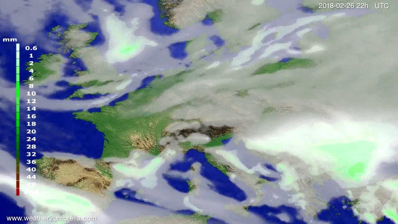 Precipitation forecast Europe 2018-02-24