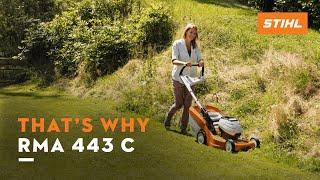 4. The STIHL RMA 443 C battery-powered lawn mower