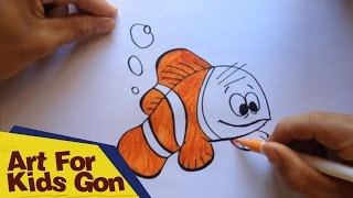 How To Draw Nemo For Kids - Bubble Guppies - Nemo Fish Cartoon Movie