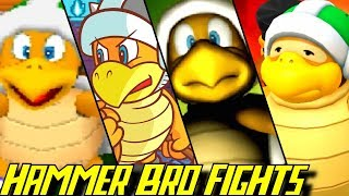 Compilation of all Hammer Bro Boss Battles in Nintendo games starting in 1993 for SNES N64, Gamecube, GBA, DS, Wii, 3DS and Wii U (1080p & 60fps)   Enjoy - Rate - Comment - Subscribe =) ►Activate the description for the order of the bosses!!Every boss fight:Yoshi's Safari (1993 - SNES)00:00 Hammer Bro00:18 Sledge Bro00:33 Super Princess Peach (2005 - DS)02:14 Mario & Luigi Partners in Time (2005 - DS)04:39 Mario Party DS (2007 - DS)05:26 Mario Party 10 (2015 - Wii U)All Hammer Bro Battles in Nintendo games for N64, Gamecube, GBA, DS, Wii, 3DS and Wii U  in 1080p/60fps►No Commentary Gameplay by ProsafiaGaming (2017)◄