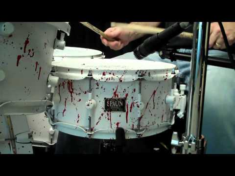 Spaun 6x14 Maple Snare- Flat White Blood Spatter