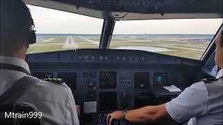 A320 landing, DTW, cockpit