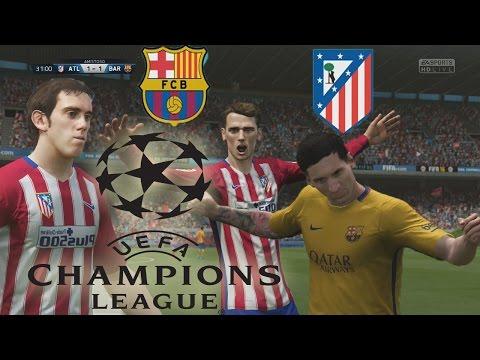 FIFA 16 Gameplay  – Barcelona Vs Atletico de Madrid – Por el paso a la Semifinal de la Champions