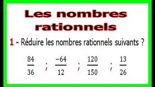 Maths 3ème - Les nombres rationnels Exercice 1