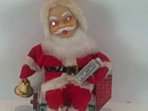 antique Toys 1950's - Santa Claus vintage toy made in Japan 1950's by HTC Co. Sitting on house, rings bell, eyes light up, original box. Available at www.CONNECTIBLES.net .