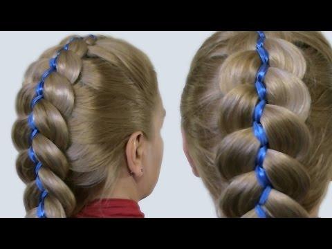 Плетём косы с лентой видео