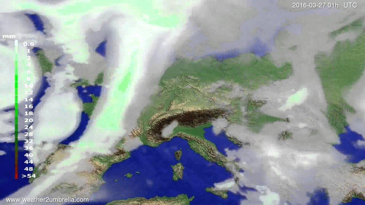 Precipitation forecast Europe 2016-03-24