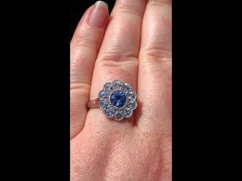 Blue Sapphire White Gold Milgrain Bezel Daisy Engagement Ring