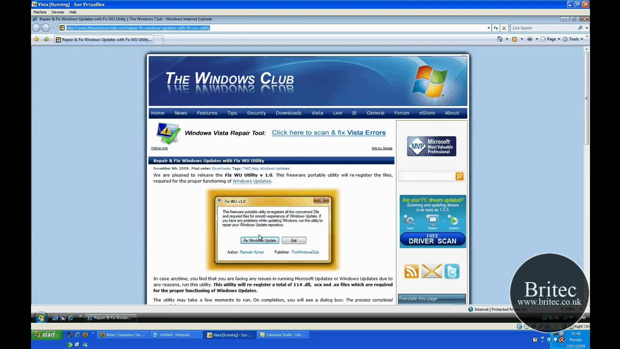 Fix WU Utility will Repair & Fix  Windows 7 &  Vista  Windows Updates by Britec