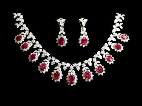 Lady's 18k White/Yellow Gold 24.19ct (TW) Ruby and Diamond Necklace and Earring Set