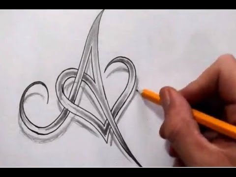 Initial A and Heart Combined Together – Celtic Weave Style – Letter Tattoo Design