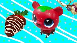 LPS Custom Bear Chocolate Dipped Strawberry DIY Littlest Pet Shop Disney Frozen Sven Olaf - YouTube