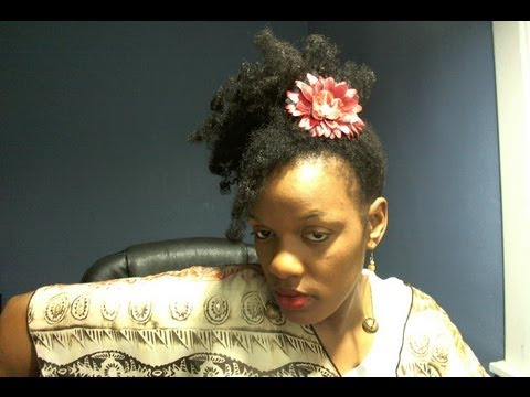 Medium Length Hairstyles / Psuedo Side Big Puff feat. Coral and Black Flower