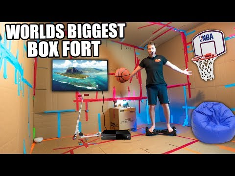 WORLDS BIGGEST BOX FORT!! 24 Hour Challenge: Basketball Court, NERF WAR, Segway & More! (видео)