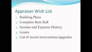Commercial Appraiser - items needed to complete a commercial appraisal