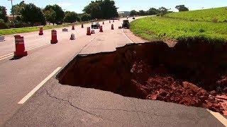 Rodovia continua parcialmente interditada por causa de cratera em Quintana