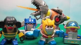In this video I unbox 4 Mr. Potato Head Mixable Mashables. These Mixable Mashables feature Mr. Potato Head as Transformer Rescue Bot characters Optimus Prime, Bumblebee, Star Scream, and Grimlock. All the different pieces can be mixed and mashed makeing Mr. Potato Head into a mashup of Transformer Rescue Bots, robots and vehicles.Grimlock is a much larger Transformer than the others. He has his own larger potato to dress. Grimlock also breathes fire and Mr. Potato Head can ride on his back.