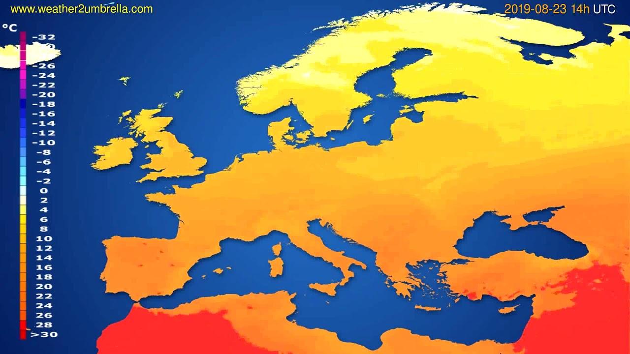Temperature forecast Europe // modelrun: 00h UTC 2019-08-21