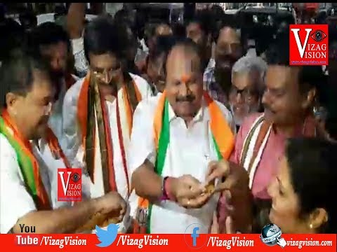 BJP Leaders Happiness fire Crackers at Vishaka Railway Station Zone Announced by Central Government to Visakhapatnam,Vizagvision..