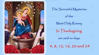The Annual Facebook Worldwide Rosary Novena in Reparation for the sins of the world.The Sorrowful Mysteries In Petition are said on days;  4, 8, 12, 16, 20 and 24If you would like to join in with us on Facebook follow this link to the 2014 event page:https://www.facebook.com/events/174931719366289/http://www.catholicmariandevotions.com/https://twitter.com/Rosary_Novena