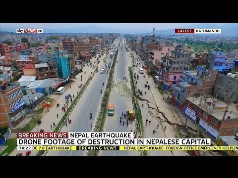 terremoto in nepal: le riprese con un drone dall'alto!