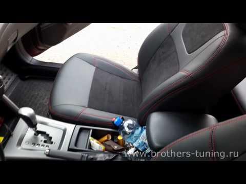 """Чехлы на Subaru Forester 3 (SH), серии """"Alcantara"""" - красная строчка"""