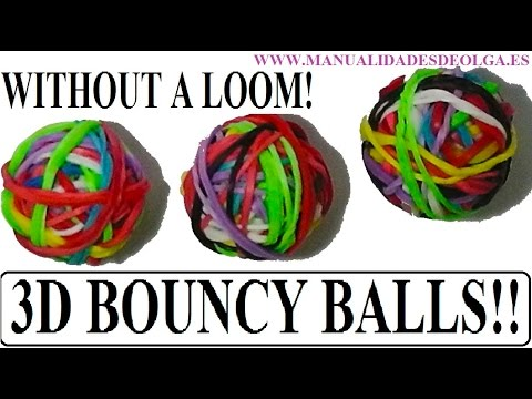 How to make 3D bouncy balls Without a loom. rubber band bounce. Tutorial diy.