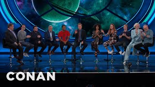 "The audience welcomes the ""Game of Thrones"" cast by humming their theme song. More CONAN @ http://teamcoco.com/video ..."