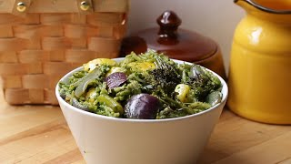 Roasted Veggies with Spinach Pesto Orzo • Tasty by Tasty