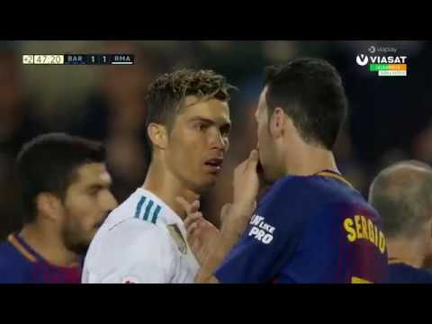 Sergi Roberto Punches Marcelo (Red Card) - Lionel Messi Goal 2-1 | El Clasico / HD
