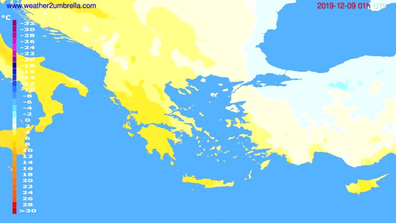 Temperature forecast Greece // modelrun: 12h UTC 2019-12-07