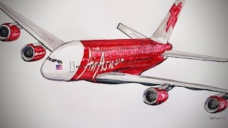 Video Air Asia, Airbus A-380, drawing timelapse MP3, 3GP, MP4, WEBM, AVI, FLV Juni 2018