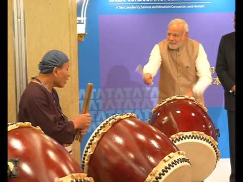 japanese - Prime Minister inaugurates TCS Japan Technology and Cultural Academy Soukoukai by beating ceremonial Japanese Drum.