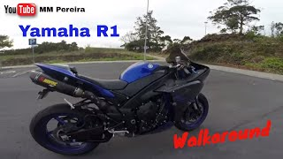 9. yamaha R1 2014 Race Blue WALKAROUND & MODS (english)