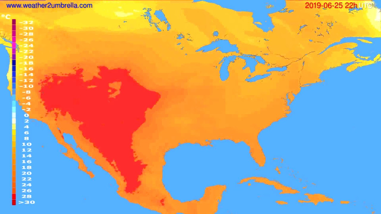 Temperature forecast USA & Canada // modelrun: 12h UTC 2019-06-23