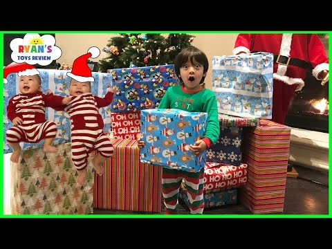 Christmas Morning 2016 Opening Presents Surprise Toys for Kids Ryan ToysReview