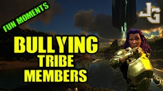 Are you bullying your tribe members? I do from time to time.. Only a little. Not too much.. Do that makes you the worst tribe mate ever? Or do you just want to have fun by teasing your tribe mates? Yes? Then I have a few ideas that I want to share with you. Forcefeed Mushrooms? Mmm...If you know any other ways to do this, please let me know.. I would luv to try them out on my tribe mates :DIf you liked this video, or not, please let me know. It's was an experiment.MUSIC:Doctor Fraud and his Quack MedicineSUBSCRIBE to learn more about ARK!http://www.youtube.com/subscription_center?add_user=jonesy-gamingPATREON: Let's support each other!https://www.patreon.com/JonesyGamingHOST your own ARK server?https://hosthavoc.com/billing/aff.php?aff=589