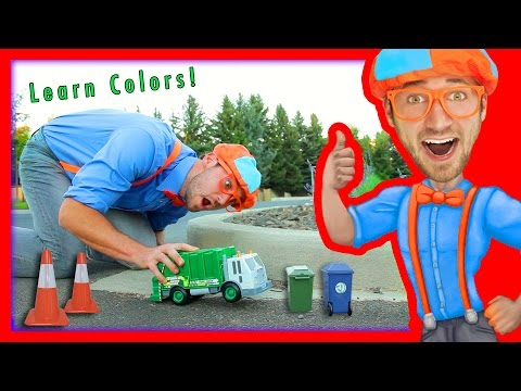 Learn Colors for Toddlers with Blippi Toys | Garbage Truck Toy