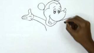 Видео: как нарисовать Микки Мауса в полный рост