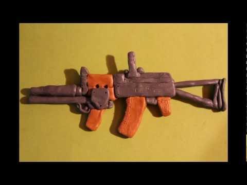 Как сделать пушку из пластилина фото