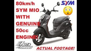 8. Sym Mio 50 80 km/h / 50 mph Unbelievable Top Speed on a 50cc Scooter
