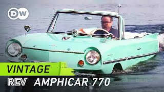 In 1961, Hans Trippel began production of the Amphicar 770: the world's first commercial amphibious car. Powered by two propellers, it cruises through the water at 6.5 knots or 12 km/h. 3,878 units were built.http://www.dw.com/en/tv/drive-it/s-9690