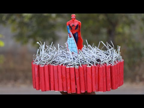 CRACKERS VS TOY TEST | EXPERIMENT OF DIWALI FIRECRACKERS WITH FLYING SPIDERMAN TOY