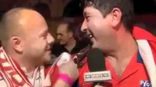 Interview von Mensur Suljovic (Darts) nach Sieg gegen James Wade