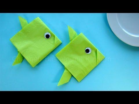 Servietten falten einfach: Fisch - Tischdeko für Taufe, Kommunion, Kindergeburtstag