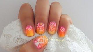 hola chicas!!os dejo este diseño de uñas paso a paso de un degradado y estampado tribal!!