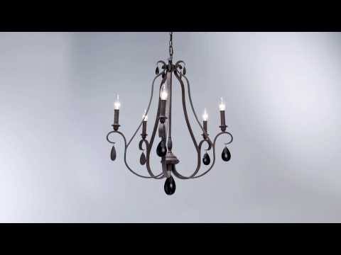 Video for DeWitt Weathered Iron Five-Light Chandelier