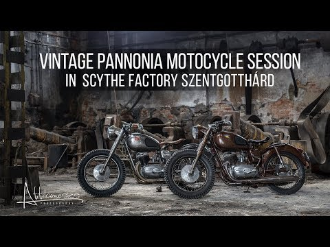 Vintage Pannonia Motorcycle session in the magnificent old  scythe factory Szentgotthárd